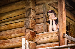 Nice Hungarian girl in national clothes Stock Photos
