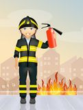 Fireman with extinguisher. Nice illustration of fireman with extinguisher Royalty Free Stock Photography