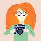 Nice illustration of young red-haired girl - photographer vector illustration