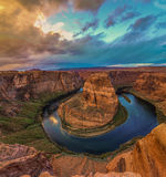 Nice Image of Horseshoe Bend. Amazing Sunset Vista of Horseshoe Bend in Page, Arizona stock photo