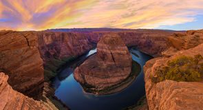 Nice Image of Horseshoe Bend. Amazing Sunset Vista of Horseshoe Bend in Page, Arizona stock photography