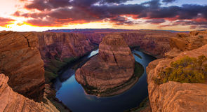 Nice Image of Horseshoe Bend. Amazing Sunset Vista of Horseshoe Bend in Page, Arizona stock image