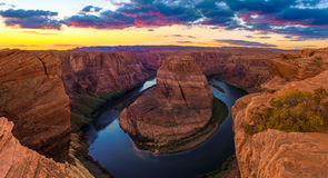 Nice Image of Horseshoe Bend. Amazing Sunset Vista of Horseshoe Bend in Page, Arizona royalty free stock photo