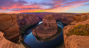 Nice Image of Horseshoe Bend. Amazing Sunset Vista of Horseshoe Bend in Page, Arizona stock images