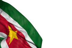 Wonderful Suriname flag with big folds lying in bottom left corner isolated on white - any celebration flag 3d illustration. Nice independence day flag 3d vector illustration