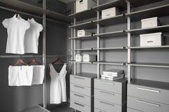 Nice interior of wooden wardrobe royalty free stock image