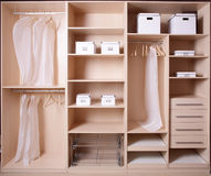 Nice interior of wooden wardrobe Royalty Free Stock Photo