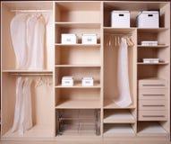 Nice interior of wooden wardrobe Royalty Free Stock Photo