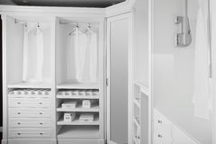 Nice interior of wooden wardrobe Stock Photo
