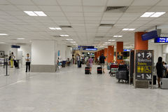 Nice International Airport interior. NICE, FRANCE - AUGUST 15, 2015: Nice International Airport interior. It is located 5.9 km southwest of Nice, in the Alpes stock photo