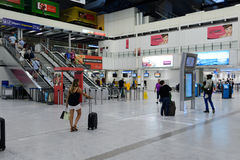 Nice International Airport interior. NICE, FRANCE - AUGUST 15, 2015: Nice International Airport interior. It is located 5.9 km southwest of Nice, in the Alpes stock photography