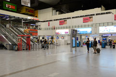 Nice International Airport interior. NICE, FRANCE - AUGUST 15, 2015: Nice International Airport interior. It is located 5.9 km southwest of Nice, in the Alpes stock image