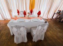 Nice  inviting view of birthday decorated table in old fashioned vintage restaurant, ready to serve their guests Royalty Free Stock Photos