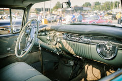 Nice inviting  view of classic retro vintage car cab interior Stock Photography