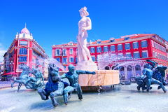 Nice, Italy. Fountain on place Massena, Nice, France stock photography