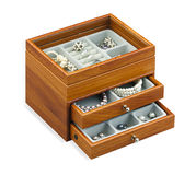 Nice jewelry chest box isolated on white  Royalty Free Stock Photography
