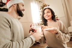 Nice joyful couple spending time together stock image