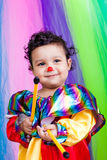 A nice kid wearing clown clothes. Royalty Free Stock Photos