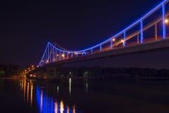 Nice Kiev pedestrian bridge lights travel city. Kiev pedestrian bridge lights travel city scape Royalty Free Stock Photos