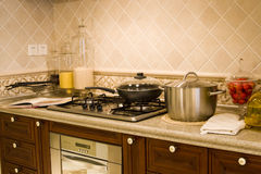 Nice kitchen. A modern nice house,It is brown Stock Photos