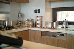Nice kitchen. A nice kitchen,view of beige coutertop Royalty Free Stock Image