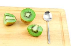 Nice kiwi fruit with spoon Stock Photos