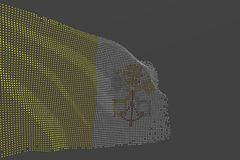 Nice labor day flag 3d illustration - digital image of Holy See isolated flag made of glowing dots wave on grey background. Pretty hi-tech image of Holy See vector illustration