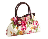 Nice lady flower pattern handbag isolated  Stock Photo