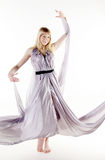 Nice lady in light flying dress Stock Images
