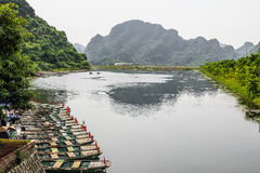 Nice lake in Vietnam. Nice lake and boats in Vietnam royalty free stock photo