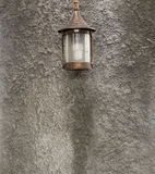 Nice lamp style, In the backyard. Mounted on a wall made of cement. Royalty Free Stock Photos