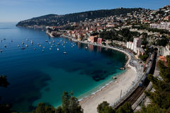 Nice landscape. Landscape shot of nice, france: city, beach and boats royalty free stock images