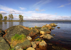 Nice landscape big stones and lake Royalty Free Stock Image