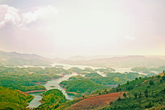 Nice landscape, hill/moutain, lake. In Bao Loc, Ta Dung lake, Viet Nam Royalty Free Stock Images