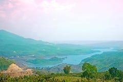 Nice landscape, hill/moutain, lake. In Bao Loc, Ta Dung lake, Viet Nam Stock Photos