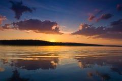 Nice landscape with sunset on lake. Nice summer landscape with sunset on lake Stock Photo
