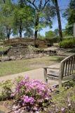 Nice landscapes design with bridge  in rose park. Nice rose Park design in Tyler TX USA Stock Images