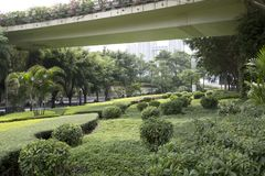 Landscapes design around viaduct in Nanning city Stock Photos