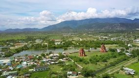 Nice Large Village with Temples by Road near Lake