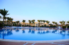 Nice larger pool with palms in Egypt Royalty Free Stock Photo