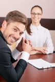 Nice lawyer talking with colleague royalty free stock photos