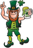 Nice Leprechaun Drinking Beer And Celebrating St P Stock Photography