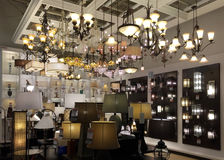 Nice light fixtures selling at furniture market Royalty Free Stock Images