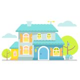Nice little blue cottage. Royalty Free Stock Photos
