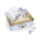 Nice little box with flower and pin cushion Royalty Free Stock Photo