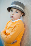 The nice little boy with freckles wearing a hat Royalty Free Stock Photos