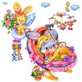 Nice little bunny in a beautiful crib Stock Photo