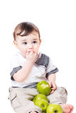 Nice little child with apples Royalty Free Stock Photos
