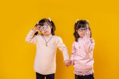 Nice little children with down syndrome being photo models stock images