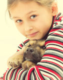 nice little girl and dog Royalty Free Stock Images